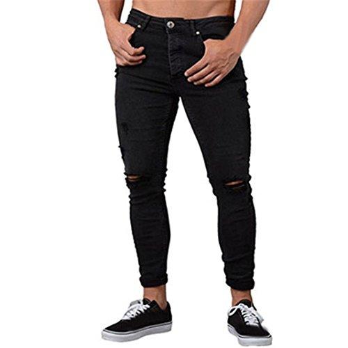 Cerniera Con Uomo Biker Da Attillato Pantalone Sfilacciato Nero Strappato Skinny Uomogo Jeans Uomo Casual Fit Pantaloni Slim 1qfxwPS7