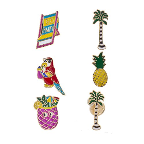 Lux Accessories Goldtone Multi Bright Enamel Tropical Summer Vacation Pin Set from Lux Accessories