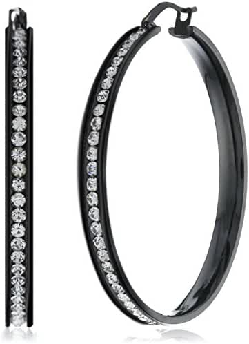 FUNRUN JEWELRY Womens Black Stainless Steel Cubic Zirconia Hoop Earrings 35-55mm