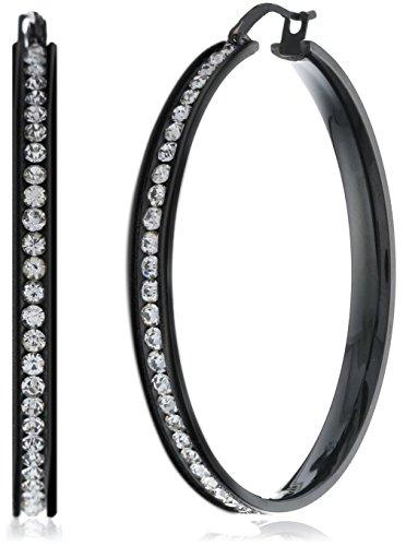 FUNRUN JEWELRY Womens Black Stainless Steel Cubic Zirconia Hoop Earrings 35mm