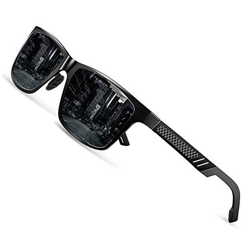 Polarized Driving Sunglasses For Men-GOUDI Mens Women Al-Mg Metal Frame Lightweight Fishing 100% UV Sports Outdoors GD8003(Black/Black)