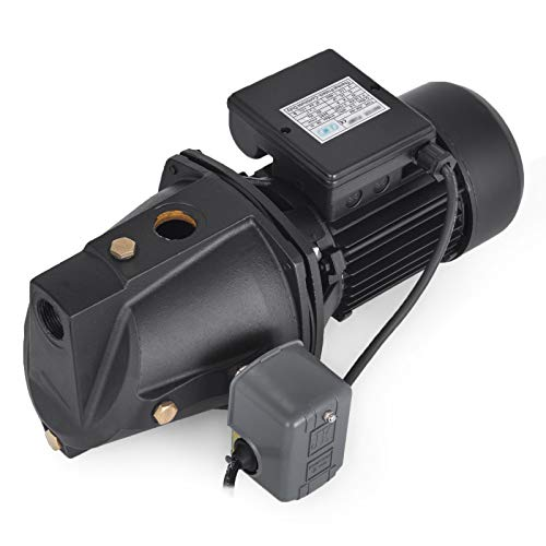 Happybuy Shallow Well Jet Pump with Pressure Switch 3/4HP Jet Water Pump 183.7 ft Stainless Steel Jet Pump to Supply Fresh ell Water to Residential Homes Farms Cabins