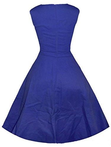 Eyekepper 50s 60s Sin mangas sólido de la vendimia del collar de la plaza vestido de oscilación Delgado Azul oscuro