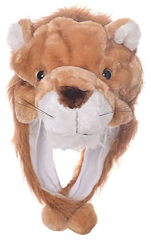 Animal Head Super Soft Plush Childrens Hat - Lion