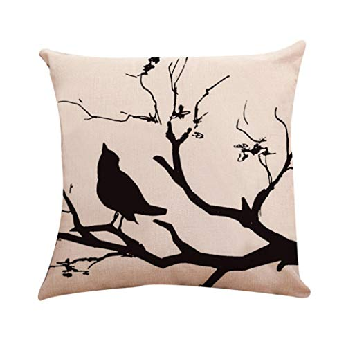 GBSELL Pillow Cover Bird in Tree Throw Pillow Case Cafe Home Party Christmas Halloween Decor Cushion (H)]()