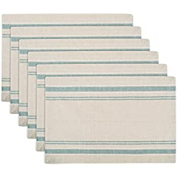 DII 100% Cotton, Machine Washable, Everyday French Stripe Placemat for Dinner Parties, Summer & Outdoor Picnics, Set of 6 - Teal