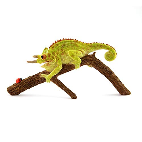 ShopForAllYou Figurines and Statues Fairy Garden Mini - Jackson's Horned Chameleon with Ladybug