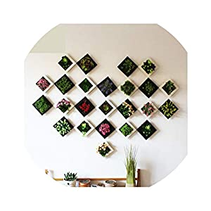 Plastic Plants Home Decoration Wall Hanger Plastic Frame Artificial Flower Living Room Wall Sticker Decor 119