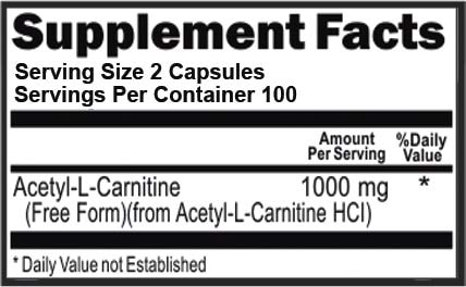 Acetyl L-Carnitine 1000mg Per Serving 200 Capsules Natural Energy, Cognitive and Nervous System Support Supplement (ALCAR)