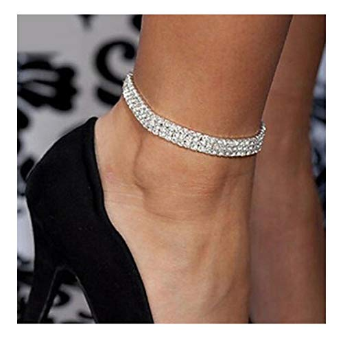 Mooinn Crystal Anklet Sexy Rhinestone Stretch Anklets Tennis Ankle Elastic Bracelets for Women-3 Rows ()