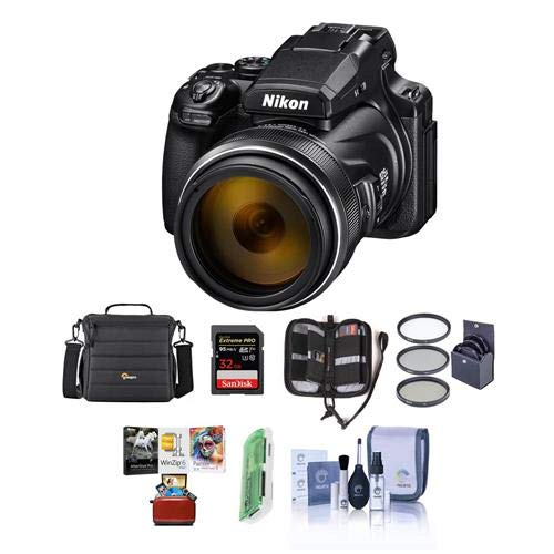 Nikon COOLPIX P1000 Digital Point & Shoot Camera - Bundle with Camera Case, 32GB SDHC U3 Card, 77mm Filter Kit, Cleaning Kit, Card Reader, Memory Wallet, Mac Software Package