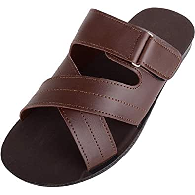 ABSOLUTE FOOTWEAR Mens Lightweight Faux Leather Slip On Summer/Holiday Sandals/Mules - Brown - US 7