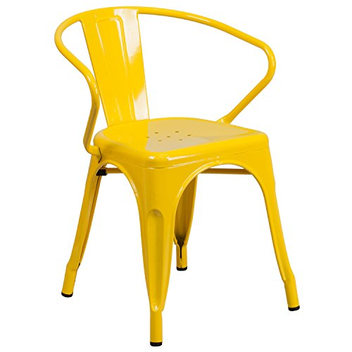 (Flash Furniture Yellow Metal Indoor-Outdoor Chair with Arms)