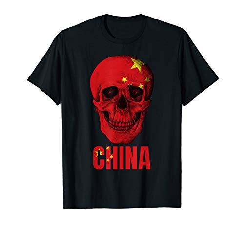 China Flag Skull T-shirt Chinese Fan