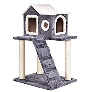"Tangkula Cat Tree Kitty Tower Condo Lovely Pet Furniture with Scratching Posts and Ladder Pet Play Toy House Kitten Activity Tree(36"") 99"