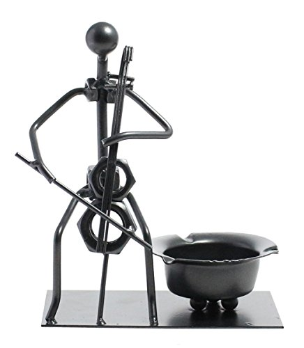 Unique Creative Stylish Home Decor Instrumental Iron Ashtray- Silver, Cello Man