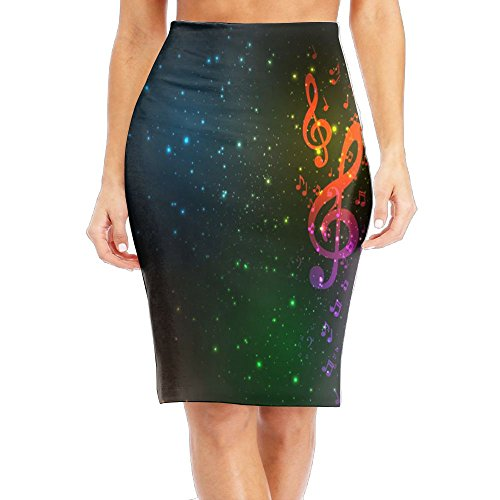 (Tailing Women's Pencil Skirt Music Note with Star Light Long Silm Dress)