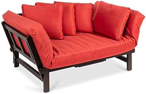 Best Choice Products Outdoor Convertible Acacia Wood Futon Sofa Furniture for Patio, Balcony, Poolside, Backyard w Pullout Tray, Removable Weather-Resistant Cushion 4 Pillows – Red