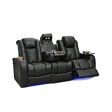 Seatcraft Anthem Home Theater Seating Leather Multimedia Power Recline Sofa with Drop-Down Table, Powered Headrests, Storage, and Cupholders (Black)