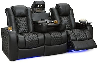 Seatcraft Anthem Home Theater Seating Leather Multimedia Power Recline Sofa  With Drop Down Table, Powered Headrests, Storage, And Cupholders (Black)