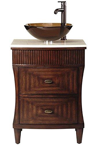 Fuji 2 drawer Single Bath Vanity With Cream Marble Top, 38Hx