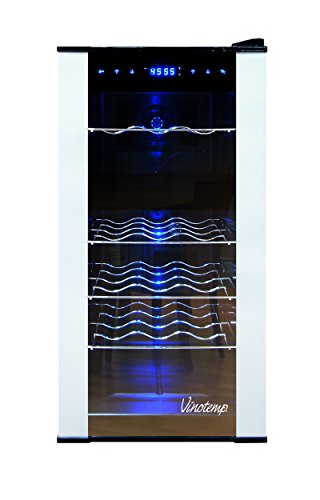 Vinotemp VT-18PTED-2Z 18 Bottle Dual-Zone Thermoelectric Wine Cooler, (Vinotemp Wine Cooler)