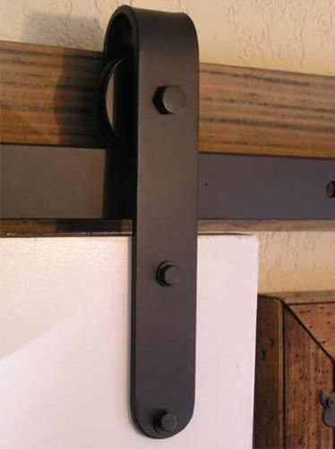 Agave Ironworks RH005-8-01 8 Ft. Designer Flat Track Hardware Kit - Smooth Flat Black