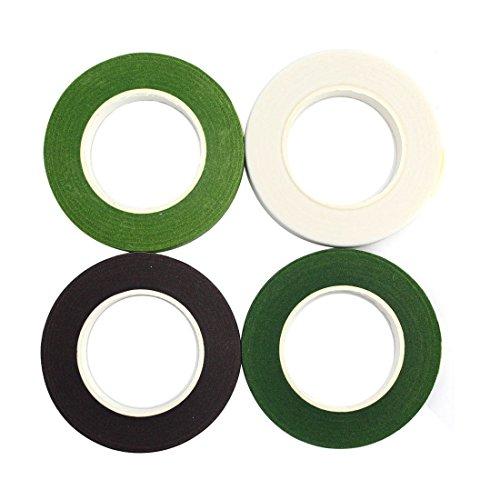 [해외]CCINEE 플로 라 테이프 인공 꽃 테이프 (갈색 울창 한 녹색 백색 4 권 세트) 폭 13mm× 길이 23m / CCINEE Flora Tape Artificial Flower Tape (Brown Green Deep Green White 4-Roll Set) Width 13mm x Length 23m