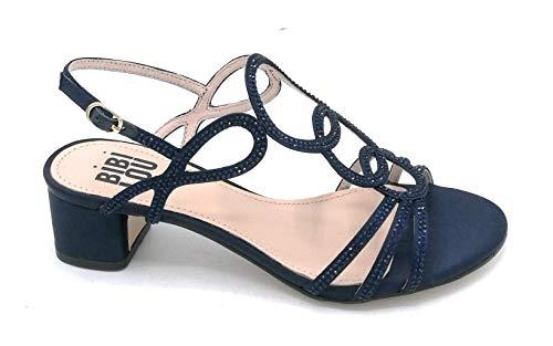 36 Sandalo 4 Colore Largo Anelle Taglia Blu Nude 787z85 Tacco Cm Strass Bibilou Scarpa Nero O1qzf5xw