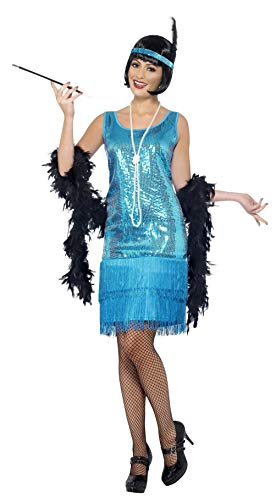 Smiffys Women's Fun time Flapper Costume, Dress, Headpiece and Necklace, 20's Razzle Dazzle, Serious Fun, Plus Size 18-20, -