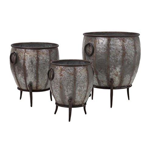 Set of 3 Zen Garden Galvanized Metal Footed Outdoor Flower Planter Tubs 21.5