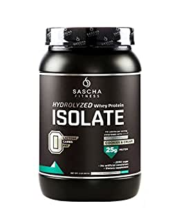 Sascha Fitness Hydrolyzed Whey Protein Isolate,100% Grass-Fed (2 Pounds, Cookies & Cream )