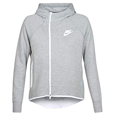 (NIKE Womens Tech Fleece Cape Full Zip Hoodie Grey Heather/White 930757-063-Size Medium)