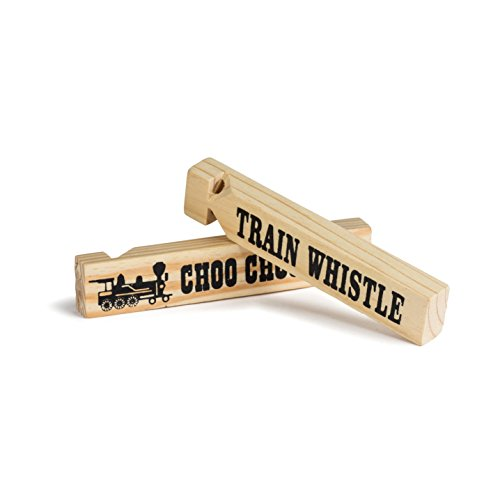 Neliblu 1 Dz 5.75'' Wooden Train Whistles, Train Whistle for kids, Train Whistle Party Favors, Thomas The Train Themed Party Favors, Bulk Toys, Party Noisemakers, 12 Train Whistles by by Neliblu