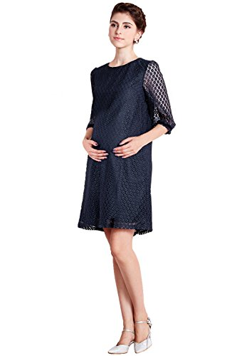 Sweet Mommy Maternity and Nursing Raschel Lace Dress [Made In Japan] Navy, L by Sweet Mommy