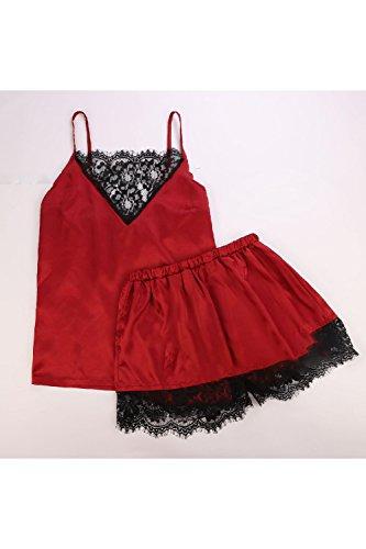 Pigiama Homewear Lace Cami Lingerie Serie Donne Di Pigiama Red Serie Pantaloncini Le xZ1TOHvU