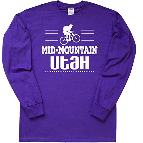 inktastic Mid Mountain Utah Mountain Biking Long Sleeve T-Shirt XXX-Large Purple