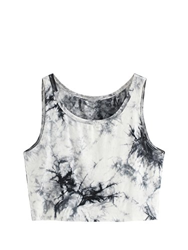 SweatyRocks Women's Summer Sleeveless Letter Print Casual Crop Tank Top Shirts (Medium, -