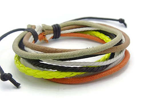 APECTO Jewelry Trendy Multilayer PU Leather Ropes Friendship Surfer Wrap Cuff Bracelet Handmade (Yellow), SM42
