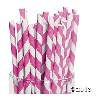 Fun Express Hot Pink Striped Paper Straws - 24 Pieces