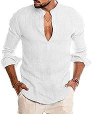 LecGee Men's Cotton Linen Henley Shirt Long Sleeve Casual T-Shirt Beach Yoga