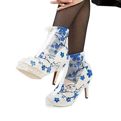 eDealMax 1 par azul claro reutilizable antideslizante de la cremallera de lluvia zapatos de tacón alto