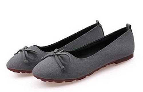 AalarDom Damen Rein Ohne Absatz Ziehen Auf Rund Zehe Flache Schuhe mit Schleife Grau