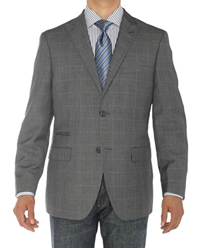 LN LUCIANO NATAZZI Mens Two Button Ticket Pocket Blazer Modern Fit Suit Jacket (46 Regular US / 56R EU, DK Gray)