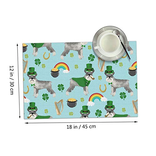 Coolfun St Patricks Day Leprechaun Schnauzer Dog Rainbow Themed Print Pattern 4 Piece Set of Placemats Pc Party Kitchen Dining Room Home Table Place Mat Patio Holidays Decorations Decor Ornament