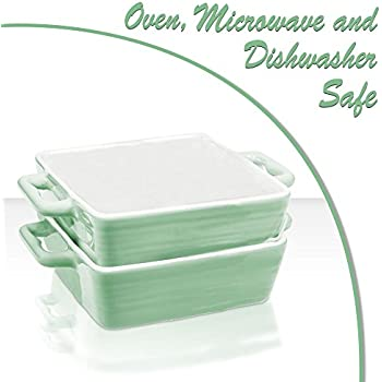 Mini Porcelain Baking Dish Pan with Handles ~ Casserole, Quiche, and Pie Baker - Oven, Microwave, and Dishwasher Safe (Pastel Green, Set of 2)