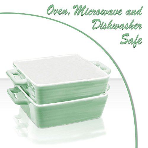 Porcelain Quiche (Mini Porcelain Baking Dish Pan with Handles ~ Casserole, Quiche, and Pie Baker - Oven, Microwave, and Dishwasher Safe (Pastel Green, Set of 2))