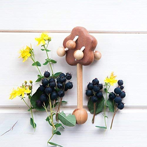 Baby rattle toy Organic Wooden Rattle Apple tree Natural toys