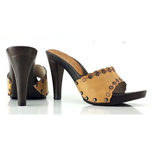 kiara K22301 Cuoio shoes Tacco Pelle Zoccoli 11 BypTKBrA