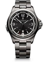 Victorinox Mens 241665 Swiss Army Night Vision Dark Grey Dial Black Ice PVD Steel Watch